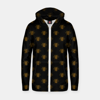 Thumbnail image of Gold Metallic Foil Bees on Black Zip up hoodie, Live Heroes