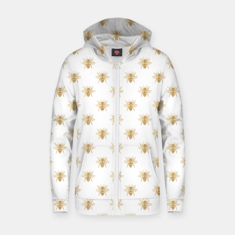 Thumbnail image of Gold Metallic Faux Foil Photo-Effect Bees on White Zip up hoodie, Live Heroes