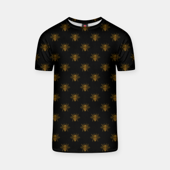 Thumbnail image of Gold Metallic Foil Bees on Black T-shirt, Live Heroes