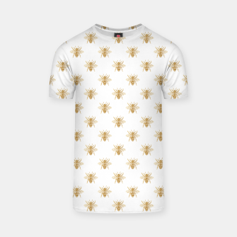 Thumbnail image of Gold Metallic Faux Foil Photo-Effect Bees on White T-shirt, Live Heroes