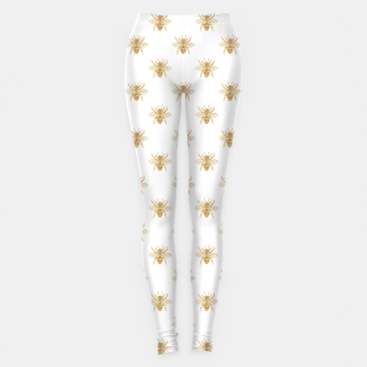 Imagen en miniatura de Gold Metallic Faux Foil Photo-Effect Bees on White Leggings, Live Heroes