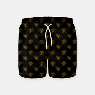 Thumbnail image of Gold Metallic Foil Bees on Black Swim Shorts, Live Heroes