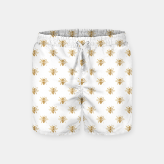 Thumbnail image of Gold Metallic Faux Foil Photo-Effect Bees on White Swim Shorts, Live Heroes