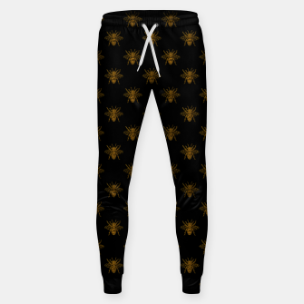 Thumbnail image of Gold Metallic Foil Bees on Black Sweatpants, Live Heroes