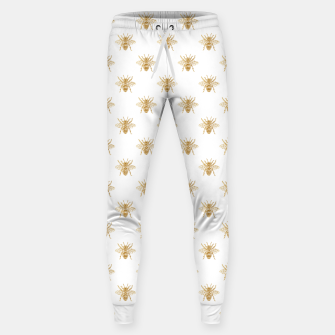 Thumbnail image of Gold Metallic Faux Foil Photo-Effect Bees on White Sweatpants, Live Heroes