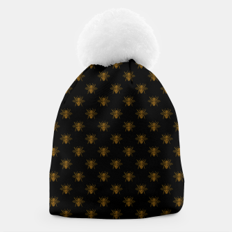 Thumbnail image of Gold Metallic Foil Bees on Black Beanie, Live Heroes