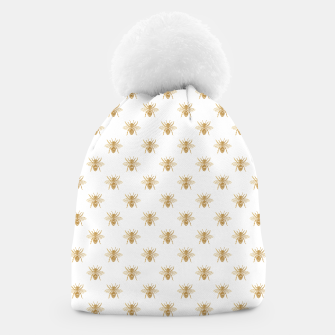 Thumbnail image of Gold Metallic Faux Foil Photo-Effect Bees on White Beanie, Live Heroes