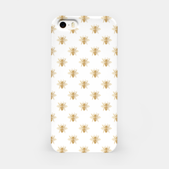 Thumbnail image of Gold Metallic Faux Foil Photo-Effect Bees on White iPhone Case, Live Heroes