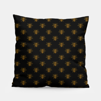 Thumbnail image of Gold Metallic Foil Bees on Black Pillow, Live Heroes
