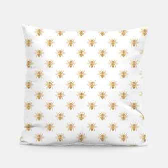 Thumbnail image of Gold Metallic Faux Foil Photo-Effect Bees on White Pillow, Live Heroes