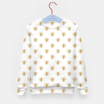 Thumbnail image of Gold Metallic Faux Foil Photo-Effect Bees on White Kid's sweater, Live Heroes