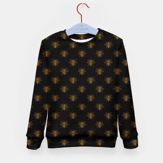 Thumbnail image of Gold Metallic Foil Bees on Black Kid's sweater, Live Heroes