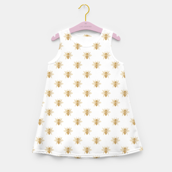 Thumbnail image of Gold Metallic Faux Foil Photo-Effect Bees on White Girl's summer dress, Live Heroes