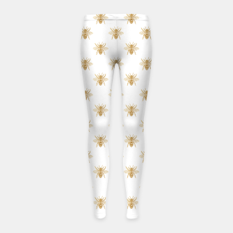 Imagen en miniatura de Gold Metallic Faux Foil Photo-Effect Bees on White Girl's leggings, Live Heroes