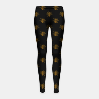 Thumbnail image of Gold Metallic Foil Bees on Black Girl's leggings, Live Heroes