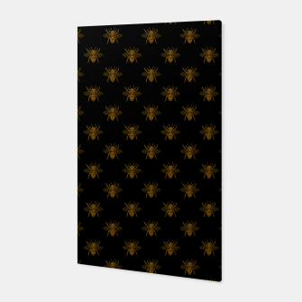 Thumbnail image of Gold Metallic Foil Bees on Black Canvas, Live Heroes