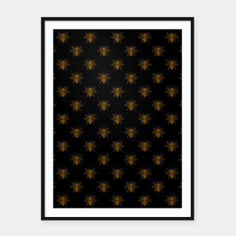 Thumbnail image of Gold Metallic Foil Bees on Black Framed poster, Live Heroes