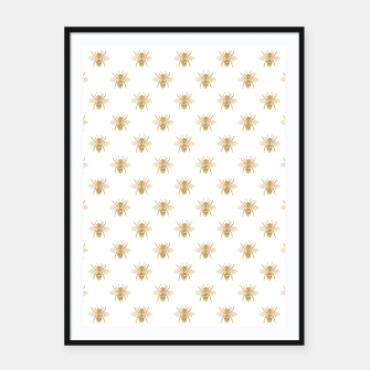 Thumbnail image of Gold Metallic Faux Foil Photo-Effect Bees on White Framed poster, Live Heroes