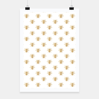 Thumbnail image of Gold Metallic Faux Foil Photo-Effect Bees on White Poster, Live Heroes