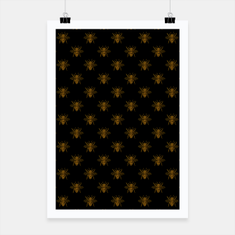 Thumbnail image of Gold Metallic Foil Bees on Black Poster, Live Heroes