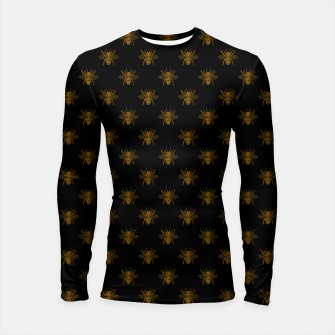 Thumbnail image of Gold Metallic Foil Bees on Black Longsleeve rashguard , Live Heroes