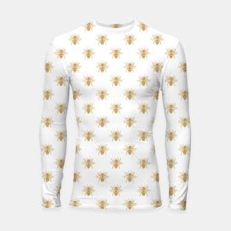 Thumbnail image of Gold Metallic Faux Foil Photo-Effect Bees on White Longsleeve rashguard , Live Heroes