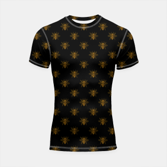 Thumbnail image of Gold Metallic Foil Bees on Black Shortsleeve rashguard, Live Heroes