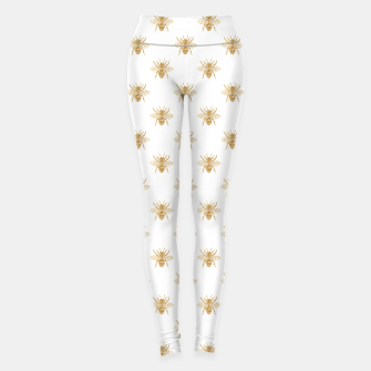 Thumbnail image of Gold Metallic Faux Foil Photo-Effect Bees on White Leggings, Live Heroes