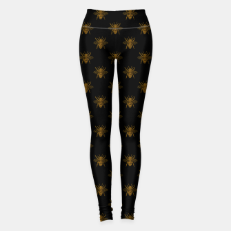 Thumbnail image of Gold Metallic Foil Bees on Black Leggings, Live Heroes