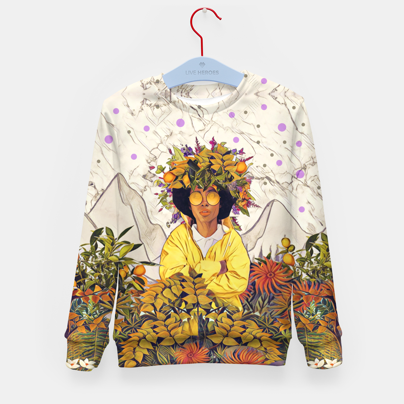 Image of Floral marble Kid's sweater - Live Heroes