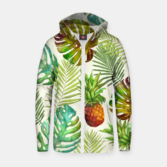 Thumbnail image of Pineapple and Monstera Zip up hoodie, Live Heroes