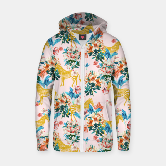 Floral and Zebras Zip up hoodie thumbnail image