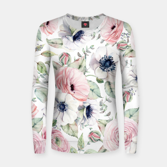 Thumbnail image of FLOWERS WATERCOLOR 29 Women sweater, Live Heroes