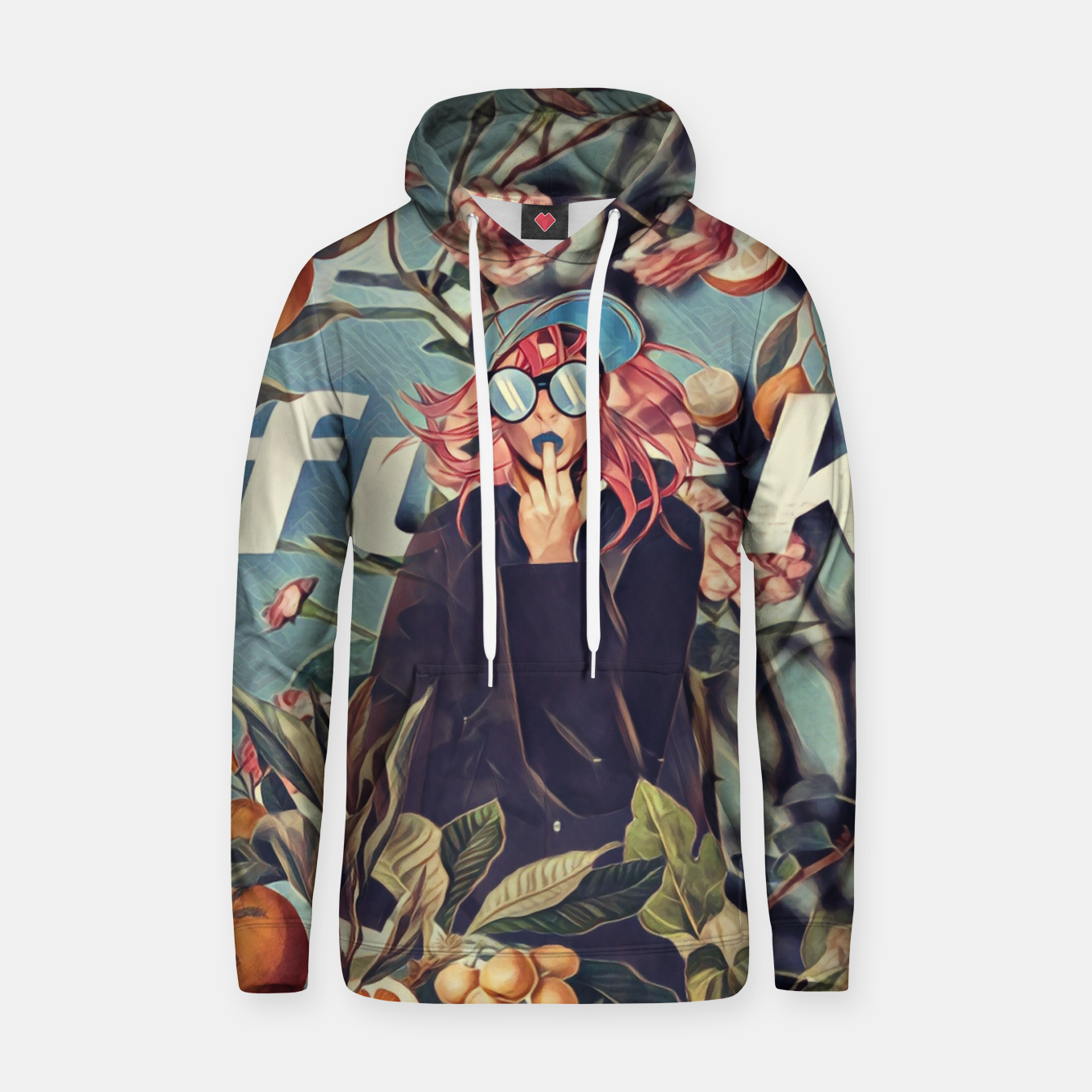Image of Orange and Floral Hoodie - Live Heroes