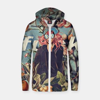 Thumbnail image of Orange and Floral Zip up hoodie, Live Heroes