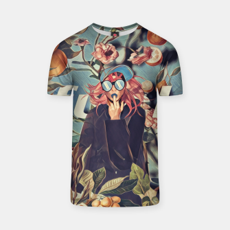 Thumbnail image of Orange and Floral T-shirt, Live Heroes