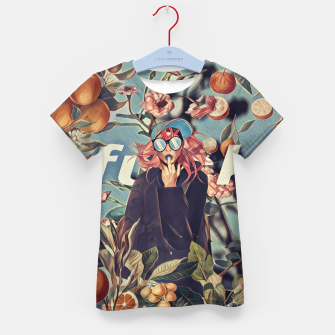 Orange and Floral Kid's t-shirt Bild der Miniatur
