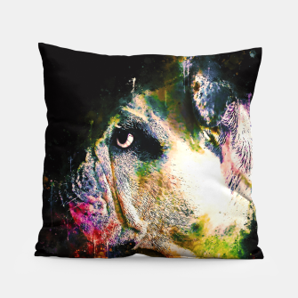 Thumbnail image of gxp english bulldog dog splatter watercolor Pillow, Live Heroes