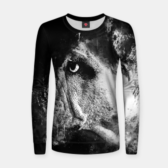 Thumbnail image of gxp english bulldog dog splatter watercolor black white Women sweater, Live Heroes