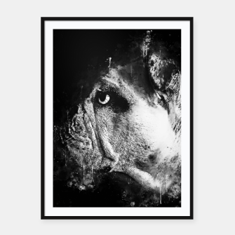Thumbnail image of gxp english bulldog dog splatter watercolor black white Framed poster, Live Heroes