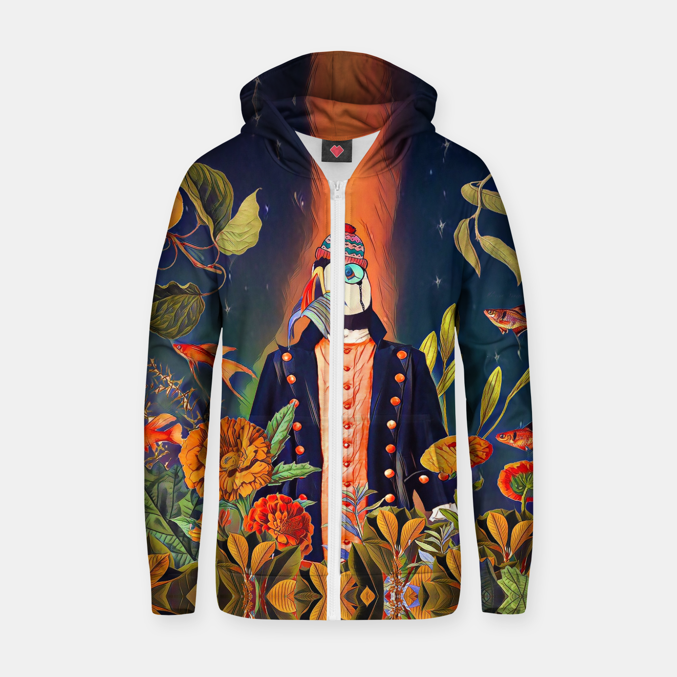 Image of Floral Puffin Zip up hoodie - Live Heroes