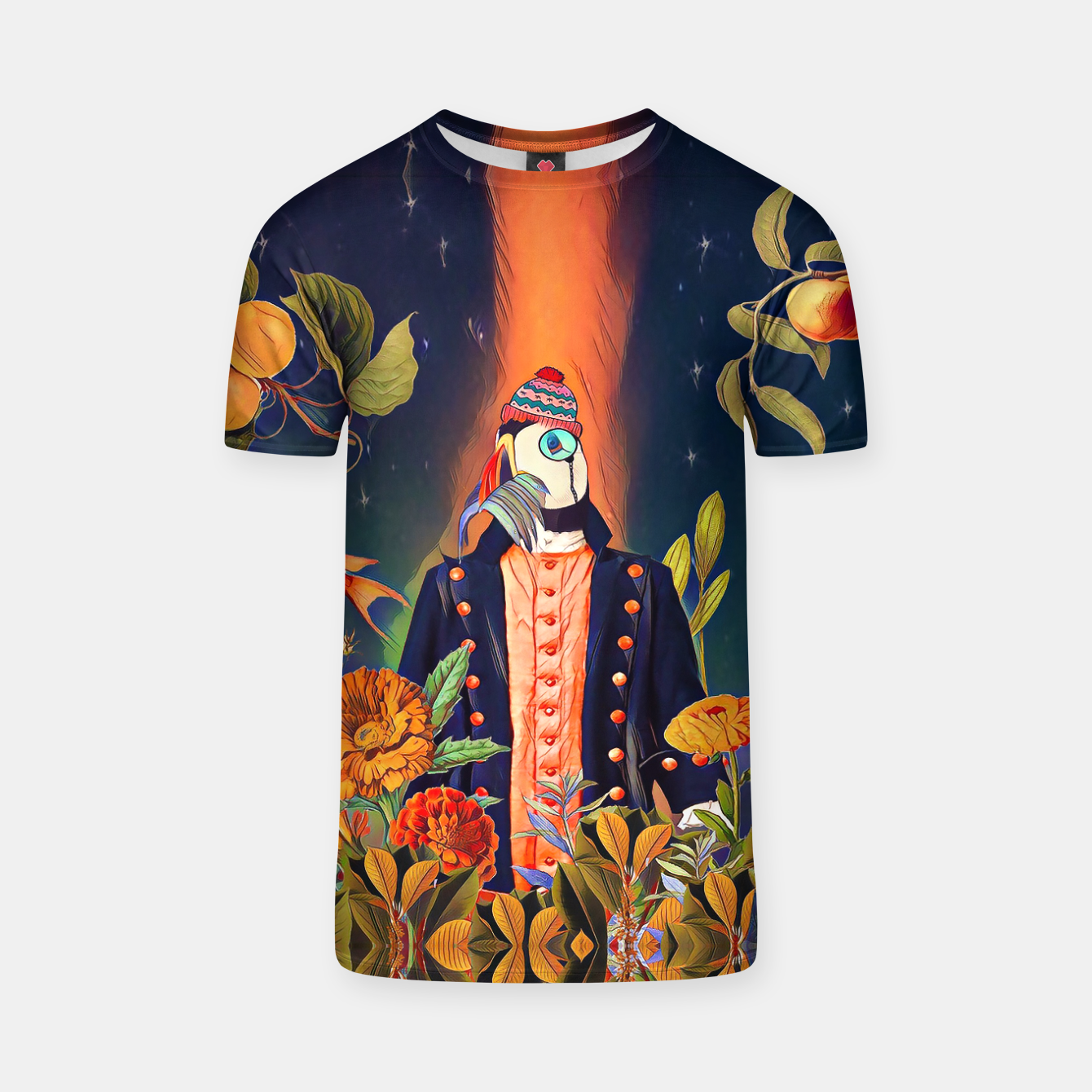 Image of Floral Puffin T-shirt - Live Heroes