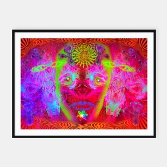 Miniatur Psychedelic Sugar Skull (ultraviolet, psychedelic, halloween, muertos) Framed poster, Live Heroes