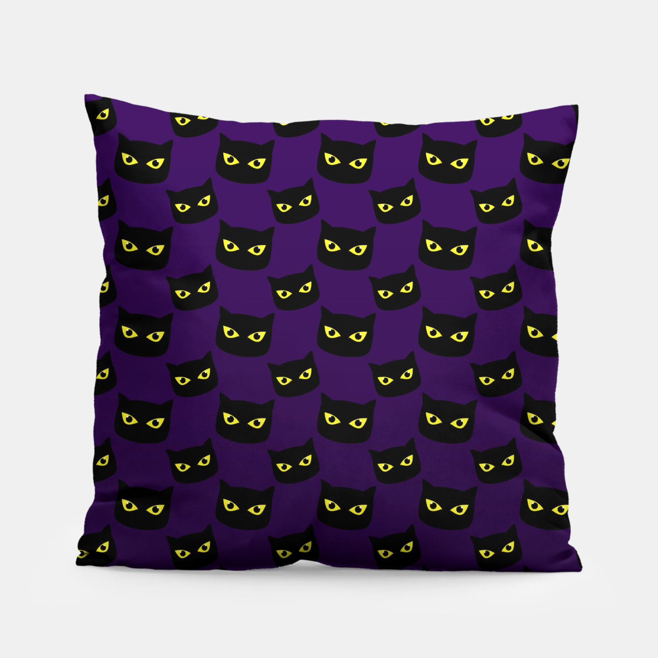 Image of Black and purple cat Halloween pattern Pillow - Live Heroes