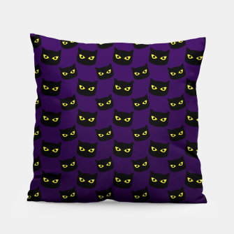 Black and purple cat Halloween pattern Pillow thumbnail image