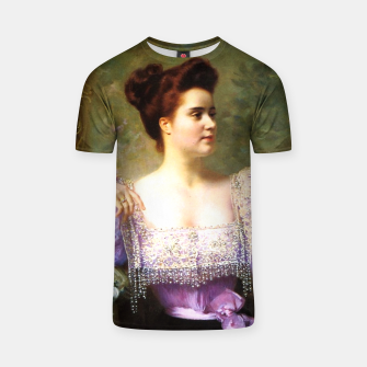 Thumbnail image of Young woman by a bouquet of hydrangeas T-shirt, Live Heroes