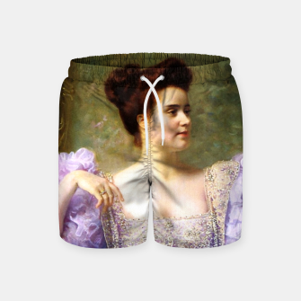Thumbnail image of Young woman by a bouquet of hydrangeas Swim Shorts, Live Heroes