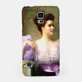 Thumbnail image of Young woman by a bouquet of hydrangeas Samsung Case, Live Heroes