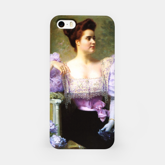 Thumbnail image of Young woman by a bouquet of hydrangeas iPhone Case, Live Heroes