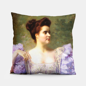 Thumbnail image of Young woman by a bouquet of hydrangeas Pillow, Live Heroes